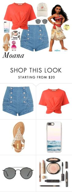 """Moana"" by disneyonrepeat ❤ liked on Polyvore featuring Pierre Balmain, T By Alexander Wang, Qupid, Casetify, Ray-Ban, Marc Jacobs, disney, disneybound, disneyfashion and disneycharacter"