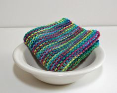 Hand Knit Cotton Dishcloth in Blues Greens and by CustomBearHugs