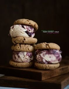 Rosemary and Marionberry Peanut Butter Jelly Ice Cream Sandwiches