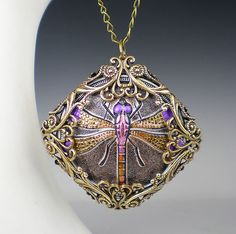 Dragonfly Necklace Lavender Pink Czech Glass Button Filigree Vintage Inspired Dragon Fly Jewelry on Etsy, $41.00