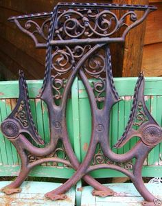 "Antique 19thC Vintage 1800's Cast Iron Filagree Ornate Art Nouveau Brackets Architectural Salvage 29"" for Bench."