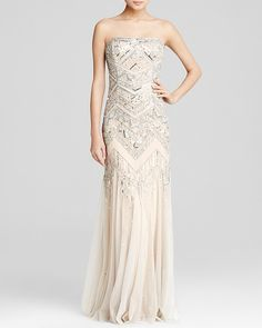 Adrianna Papell Gown - Strapless Geometric Beaded Godet
