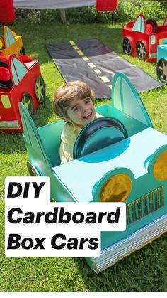 First gather your materials: cardboard box, duct tape, hot glue, xacto blade and scissors. Published by Party Ideas, Printables and Crafts with Just Add Confetti. Projects For Kids, Diy For Kids, Crafts For Kids, Toddler Activities, Learning Activities, Outside Activities For Kids, Cardboard Crafts, Toddler Fun, Kids And Parenting