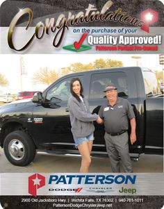 Congratulations to Emily Glidewell on her new 2011 Dodge Ram 3500. - From Gary Gragg at Patterson Dodge Chrysler Jeep Ram!