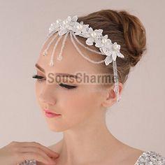 Coiffure mariage serre-tête mariée à embellir le front en dentelle blanche aux fils strass scintillants et perles simili