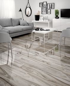 DELLANO MOSS GRAY WOOD LOOK TILE Grey Wood Tile, Grey Wood Floors, Wood Tile Floors, Wood Look Tile, Grey Flooring, Ceramic Flooring, Living Room Wood Floor, Living Room Flooring, Porcelain Wood Tile