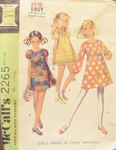 70s McCalls 2265 Girls' Dress in Three by SewYesterdayPatterns (Craft Supplies & Tools, Patterns & Tutorials, Sewing & Needlecraft, Sewing, commercial, collectibles, sewing pattern, craft supplies, sewing supplies, mccalls pattern, 1970s mccalls, patternpatter, vintage pattern, childrens pattern, girls dress, girls dress pattern, dress pattern)