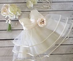 Ivory Satin and Layered Tulle Princess Baby Dress.  by PurdyGurly