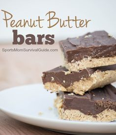 No-Bake Peanut Butter Bars Recipe. These are SO EASY and SO DELICIOUS!  Perfect for when you need a quick dessert.