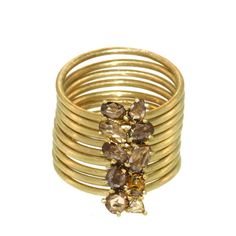 Multi Band Ring With Cognac Diamond Cluster - Rings - Collections