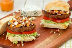 Move over chicken wings, we don't need you anymore. Buffalo Bacon Blue Cheese Burgers are here. Just for fun, serve them with carrot and celery sticks.