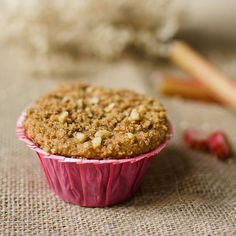Buttermilk rhubarb batter topped with a cinnamon walnut streusel creates the perfect balance of sweet and tart in these wonderful rhubarb streusel muffins. Rhubarb Muffins, Rhubarb Custard Pies, Rhubarb Desserts, Muffin Recipes, Brunch Recipes, Streusel, Yummy Treats, Quick Bread, Baking