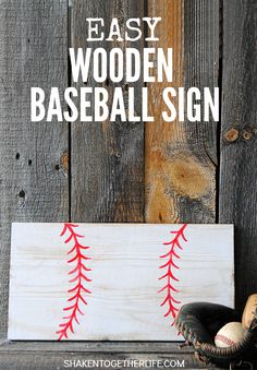 With a scrap piece of wood and a few craft supplies, you can make an easy wooden baseball sign that is perfect for kids' rooms, a man cave or a gallery wall! Easy crafty clean up tip, too!   #ConquerTheMess #pmedia {ad}