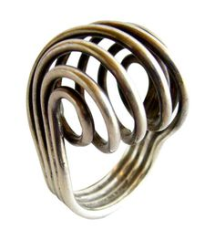 ANNA GRETA EKER for PLUS; Sterling Silver Spiral Ring, 1960s