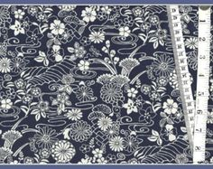 "Cotton Fabric  ""Lotus"" in Navy  From Timeless Treasures"