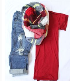 www.thetickledpinkboutique.com Into v neck, blanket scarf and cuffed Capri skinnies