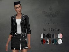 The Sims Resource: Pearl Biker Jacket by Sentate • Sims 4 Downloads
