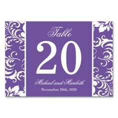 Damask Sides Table Numbers (Plum Purple / White) Table Cards