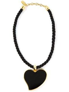 Black and gold-tone braided necklace from Yves Saint Laurent Vintage featuring a rear logo stamped clasp fastening and a heart pendant.