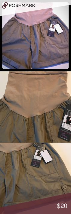 Khaki Maternity shorts size M or 8/10 NWT New with tags, $40, khaki maternity shorts by Motherhood. Oh Baby Collection - Secret Fit Belly shorts. Size Medium or size chart says 8/10. Motherhood Shorts