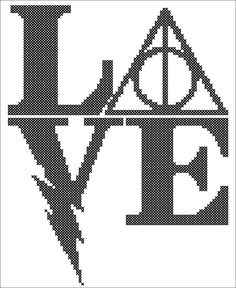 BOGO FREE! -Harry Potter  Logo  LOVE original pattern monochrome - Harry Potter cross stitch pdf Pattern - pdf pattern instant download #57 by Rainbowstitchcross on Etsy