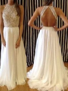 Chiffon Scoop Neck Pretty Pearl Detailing Backless Sweep Train Prom Dress   138.99 Strapless Prom Dresses 82aae27ee