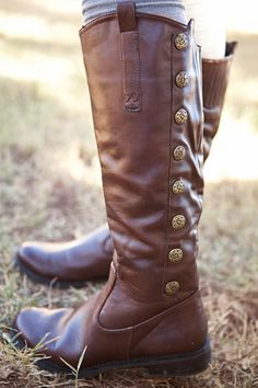 Brown Leather Back Button Long Boots