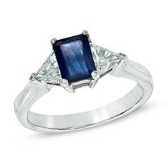 Emerald-Cut Blue Sapphire and 1/2 CT. T.W. Trillion-Cut Diamond Ring in 14K White Gold - View All Jewelry - Gordon's Jewelers