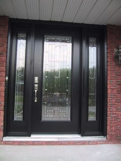 Accessories| Stylish Guest Welcoming Black Front Door Ideas: Bevelled Glass Panel Black Front Door Frame Also Brick Wall Exterior Accent Feats  Antique Wall Lamp