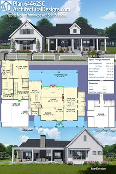 Architectural Designs Modern Farmhouse Plan 64462SC has 3 beds, 3 baths and over 2,500 square feet of heated living space PLUS a bonus room over the garage AND an optional finished lower level. Like the bathroom area of the kids room. And master closet