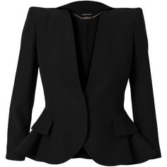 ALEXANDER MCQUEEN Tailored Peplum Jacket ($2,160) ❤ liked on Polyvore