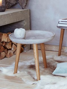 Concrete Topped Side Table - Indoor Living