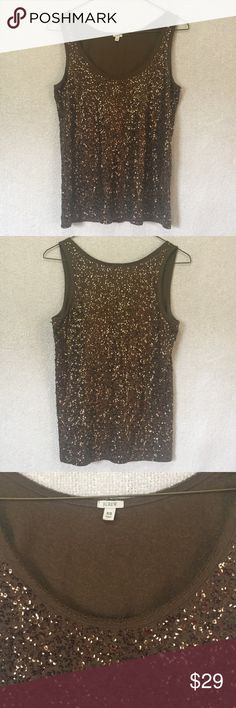 """J.Crew Olive Army Green Sequin Tank Beautiful, green sequin tank top. In some lights the sequins appear almost bronze, giving it multifaceted sparkle! Excellent used condition. Size XS. Length shoulder to hem 24""""  Underarm to underarm laid flat 16"""" (5217) J. Crew Tops"""