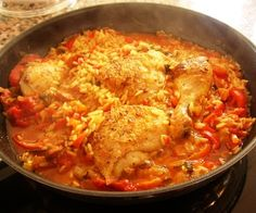 "Arroz con pollo, or ""rice with chicken,"" originated in the Andalusia region of Spain. It shares similarities with several West African dishes such as jollof rice, and may in fact have origins there. The Spanish version as was introduced to the New World colonies, and arroz con pollo is very popular in the Caribbean, especially in Cuba and Puerto Rico."