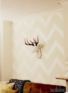love the chevron pattern. soothing wall color, too ... pattern looks perfect.