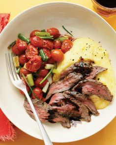 Balsamic Skirt Steak with Polenta and Roasted Tomatoes Recipe