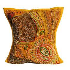 "16X16"" Indian Cotton Beaded Patch Work Decorative Pillow Case Cushion Cover 041 #Handmade #ArtDecorStyle"