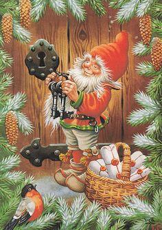 New double Christmas cards by Lars Carlsson vintage styled Swedish Christmas, Christmas Gnome, Scandinavian Christmas, Christmas Art, All Things Christmas, Christmas Decorations, Vintage Christmas Cards, Christmas Pictures, Vintage Cards