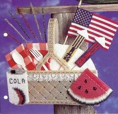 Crib Beaded Basket, Annies plastic canvas pattern in Crafts, Needlecrafts & Yarn, Needlepoint & Plastic Canvas Plastic Canvas Stitches, Plastic Canvas Patterns, Annie's Attic, Needlecrafts, Flower Basket, July 4th, Needlepoint, Cribs, Free Pattern