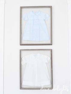 Use a shadow box frame for kid's baby clothes
