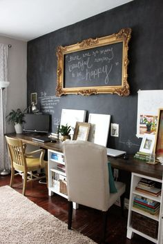 Decoration, Cheap Basement Home Office Walls Remodeling By Paint One Of The Basement Walls With Chalkboard Paint Ideas ~ Beautiful Cheap Basement Remodeling Ideas for Livable Room Home Office Space, Home Office Design, Desk Space, Office Spaces, Grey Home Office Furniture, Office Nook, Desk Areas, Interior Office, Desk Office