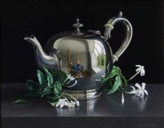Still Life with Silver Teapot and Jasmine