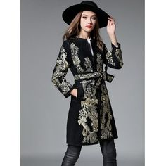 Slim Gold Thread Embroidered Long Belted Wool Coat #shoes, #jewelry, #women, #men, #hats, #watches