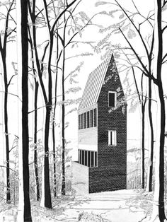 Image 1 of 7 from gallery of Prized Hand-Drawings Return a Building to an Organically Conceived Whole. Denis Andernach, Turmhaus, Ink on paper, 14 x 18 in Architecture Graphics, Architecture Drawings, Architecture Portfolio, Architecture Plan, Landscape Architecture, Architecture Diagrams, Tinta India, Future Buildings, Architect Drawing