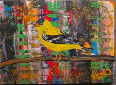GOLD FiNCH~BiRD~painting Maine FOLK ART outsider~COASTWALKER