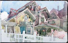 "5"" x 8"" Moleskine watercolor sketchbook of Ohio City. I LOVE this!"