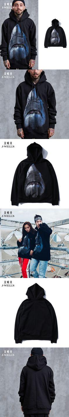 Animal 3D Hooded Sweatshirt Men Big White Shark Printed Warm Mens Hoodies Cotton Sweatshirts Tops Man Hip Hop Casual Sweat Homme