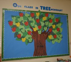 Our Class is TREEmendous! Tree changes with seasons We are always looking for fun, new bulletin board ideas. I thought I would share some of the bulletin boards we have had here at preschool over the years, in case you are looking for some new idea… Apple Bulletin Boards, Toddler Bulletin Boards, September Bulletin Boards, Family Bulletin Boards, Bulletin Board Tree, Kindergarten Bulletin Boards, Birthday Bulletin Boards, Back To School Bulletin Boards, Preschool Bulletin Boards
