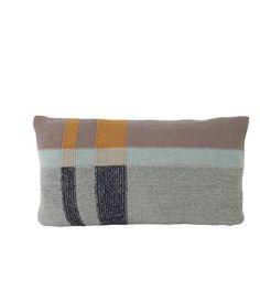 Ferm Living Sierkussen Medley Knit Mint tweezijdig multicolour grijsblauw katoen S 40x25cm - wonenmetlef.nl