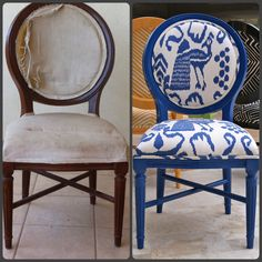 Same chair different look, recover in @Quadrille Fabrics